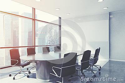 Panoramic meeting room close up, toned Stock Photo