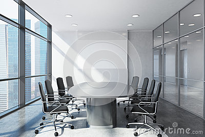 Panoramic meeting room front view Stock Photo