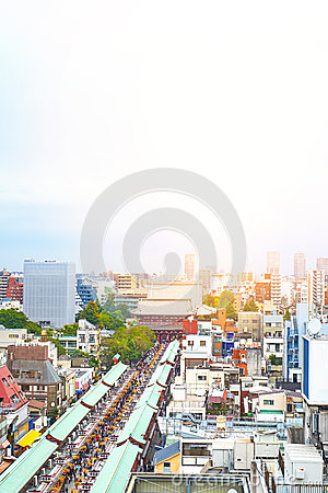 Free Panoramic Modern Cityscape Building Bird Eye Aerial View Of Sensoji Shrine Under Sunrise And Morning Blue Bright Sky In Tokyo, Jap Royalty Free Stock Images - 88163629