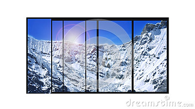 Panoramic modern window snow mountains landscape