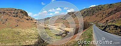 Panoramic narrow country road in Wales, UK.