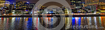 Panoramic night city landscape, Boat Quay, Singapore