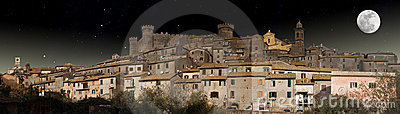 Panoramic night view of Bracciano in the moonlight