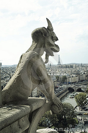 Panoramic of Paris with Gargoyle