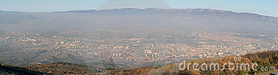 Panoramic photo of a city