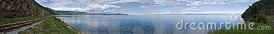 Panoramic photo of lake Baikal