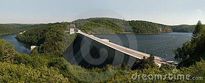 Panoramic picture of Germanys dam Rappbodesperre
