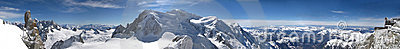 Panoramic picture of Mont Blanc, french Alps
