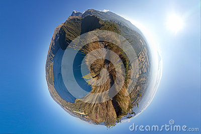 Panoramic planet of a lake and mountains