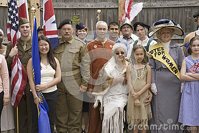 Panoramic portrait of past and present Americans Editorial Stock Photo