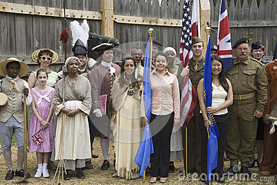 Panoramic portrait of past and present Americans Editorial Stock Image