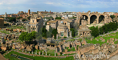 Panoramic roman ruins