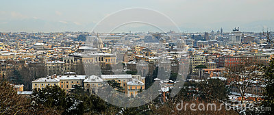 Panoramic of rome under snow