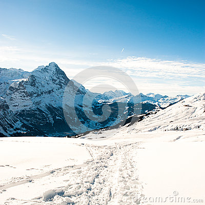 Panoramic scenery above Grindelwald,