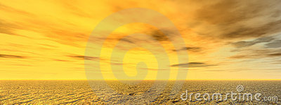 Panoramic seascape in yellow light background.