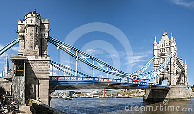 Panoramic shot of Tower Bridge. Editorial Stock Image