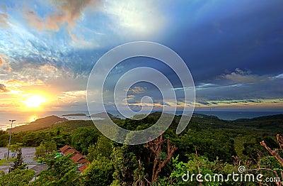 Panoramic sunrise landscape