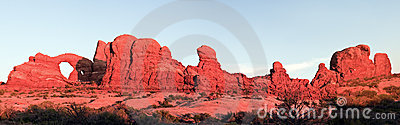 Panoramic sunset in Arches National Park