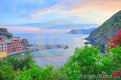 Panoramic sunset view to Vernazza village