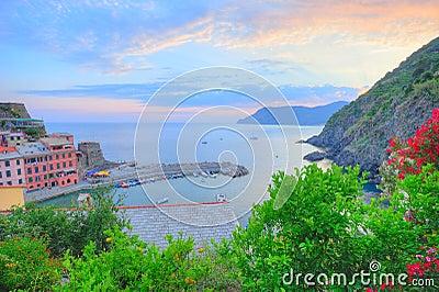 Panoramic sunset view to Vernazza village