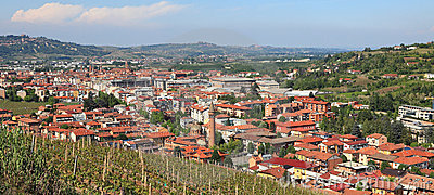 Panoramic view on Alba, Italy.
