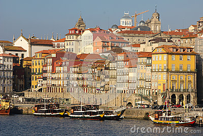 Panoramic view along the river. Porto. Portugal Editorial Stock Photo