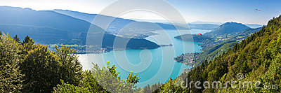 Panoramic view of the Annecy lake from the Col du Forclaz