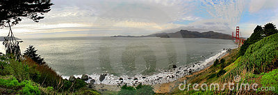 Panoramic view on Baker Beach and Pacific Ocean.