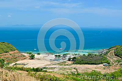 Panoramic view on the beach in Koh Lan Island