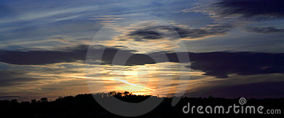 Panoramic view of a blazing sunset