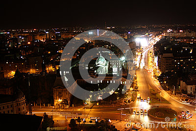 Panoramic view of Bucharest (Romania) at night Editorial Photography