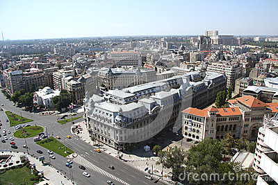 Panoramic view of Bucharest (Romania) Editorial Stock Image