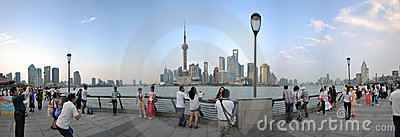 Panoramic view of The Bund, Shanghai, China Editorial Stock Photo