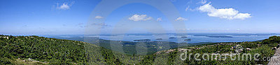 Panoramic view from Cadillac Mountain,park Acadia
