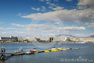 Panoramic view on central beaches of Eilat, Israel
