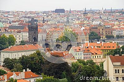 Panoramic View of Charles Bridge in Prague