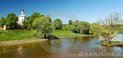 Panoramic view of church over river