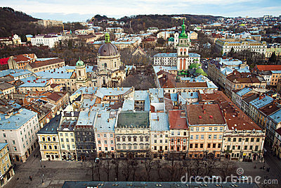 The panoramic view of the city Lviv