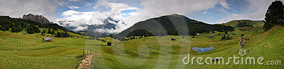 Panoramic view of the Dolomites peaks