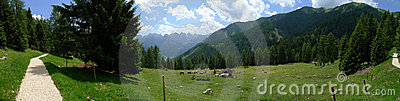 A panoramic view of Dolomiti Alps Italy