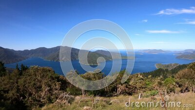 Panoramic view on Marlborough Sounds, South Island, New Zealand. stock video footage