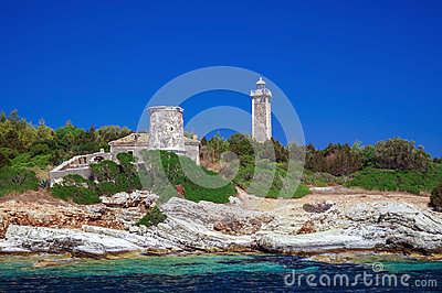Panoramic view of famous lighthouse at Lefkada, Ionian sea