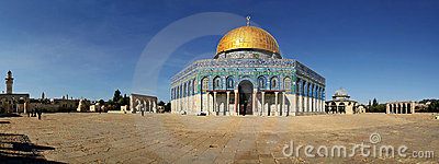 Panoramic view of famous mosque in Jerusalem.