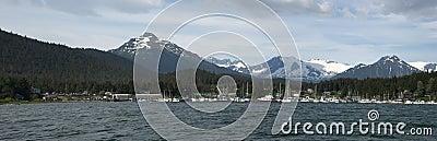 Panoramic View of Fishing Boats Harbor In Alaska