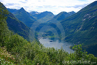 Panoramic View Geiranger Village - Vertical