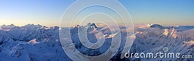 Panoramic view of Greater Caucasus in sunrise