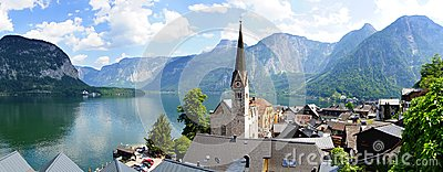 Panoramic view of the Hallstatt,  Austria