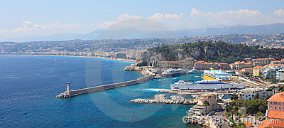 Panoramic view of harbor of the city of Nice.
