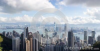 Panoramic view of Hong Kong,victoria harbor