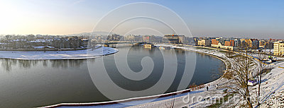 Panoramic view of Krakow city and Vistula river